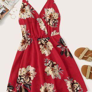 red floral shein dress